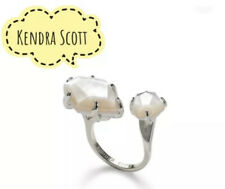 Nwt Kendra Scott Kayla Open Ring Rhodium Ivory Mother Of Pearl Size S/M