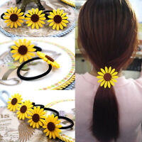 5Pcs Sunflower Elastic Hair Ties Bands Rope Rings Ponytail Holders Girl