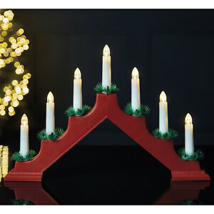 7 LED Traditional Window Candle Bridge Wooden Christmas Decoration Arch Light Up