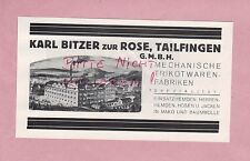 TAILFINGEN, Werbung 1928, Karl Bitzer zur Rose GmbH Mechan Trikot-Waren-Fabriken