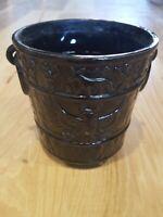 Vintage Japan Stamped Black Pottery Pot Planter Eagle Pictorial Pattern Bonsai