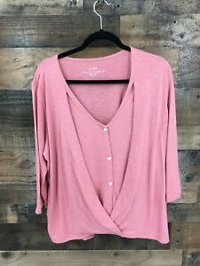 Pure Jill Women's Pink Ginger Cotton Blend Cross-Front Top 3/4 Sleeve Size Large