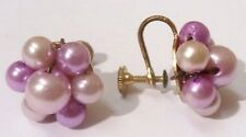 boucles d'oreilles à vis bijou vintage couleur or fleur perle couleur parme 3411