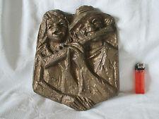 Großes Bronzerelief, musizierendes Paar, Joseph Krautwald