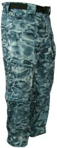 Aqua Design  Camo Convertible Fishing Pant UPF 50+ Protection Misty Sky XL
