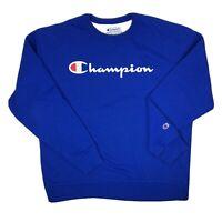 Champion Spellout Script Logo XL Blue Crewneck Sweatshirt