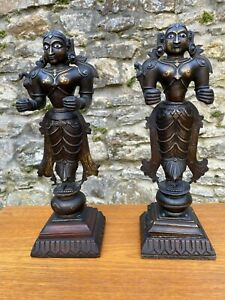 Pair Antique Indian Bronze Guardian Figures Deities Inlaid eyes 19th century