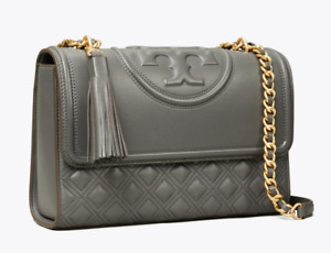 Tory Burch Fleming Quilted Shoulder Bag OVERCAST Grey Authentic New