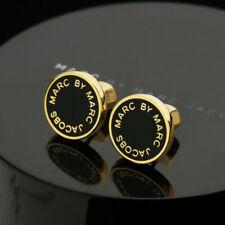 MARC BY MARC JACOBS Enamel Logo Disc Stud Earrings In Black/Golden