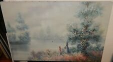 LIVESEY LARGE WOMAN & SAIL BOATS LAKE LANDSCAPE ORIGINAL OIL ON CANVAS PAINTING
