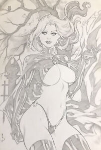 "Goblin Queen (12""x17"") Original Art Comic Sexy Pinup By M.S. - Ed Benes Studios"