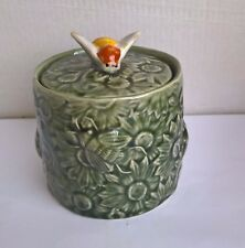 Vintage Secla honey bumblebee pot in Green glaze