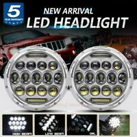 "2x 7"" inch Chrome LED Projector Headlights DRL Hi/Lo For JEEP JK GQ PATROL Ford"