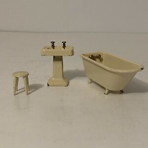 Lot 3 Vintage 1930s Tootsie Toy Dollhouse Bathroom Furniture Cream Sink Tub 30s