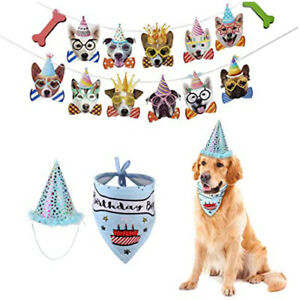 Dog Birthday Party Decorations Banner Hat Bandanna Scarf for Boy Dogs