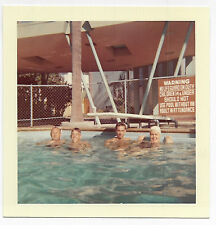 Square Vintage 60s PHOTO Guys Man Woman In Swimming Pool