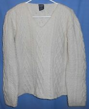 Paul James England Ivory Long Sleeve Thick Wool Cable Knit Fisherman Sweater L
