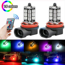2Pcs H11 5050 27SMD RGB Fog Light Bulbs Car Lamp Blue Pink Red Green Ice Blue
