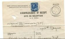 5c  Admiral AR registration to United States 1921 FORM Cover Canada