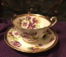 Royal Chelsea Pansies w/ Thick Gold Trim Teacup w/ Saucer