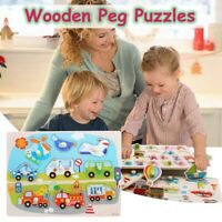 Wooden Peg Puzzle Vegetable Shapes Young Toddler Learning Children Toy  PN1