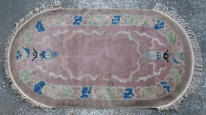 Antique Art Deco Chinese rug hand knotted wool China ca. 1920's 3x5.5ft #5023