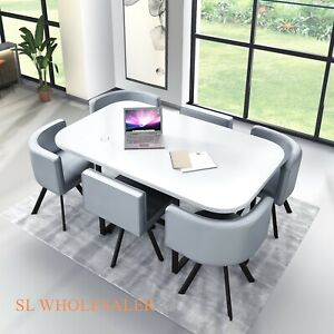 White high  Gloss Wooden Dining Table  & 6  Chairs retro