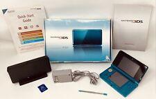 Nintendo CTR-001 3DS Aqua Blue Handheld Game Console Bundle