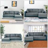 X-Large Sofa bed Luxury Faux Leather & Fabric Storage Sofa bed Corner Sofa