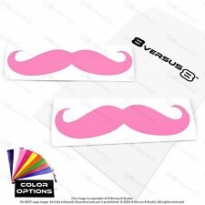 2x Mustache Car Vinyl Decal Sticker Window Bumper -Made in USA Ships w/ Tracking