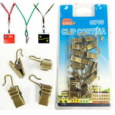 15 x Mini Brass Clips Curtain Office Badge Holder School ID Card Clip Up Metal