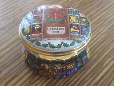 Halcyon Days 1991 Enamel Christmas Trinket Box Mint!