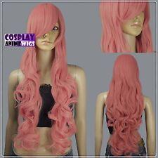 80cm Milkshake Pink Heat Styleable Curly Long Cosplay Wigs 967_KPN
