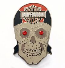Harley Davidson Motorcycles Skull Pin Orange Rhinestone Eyes 2008 Rare