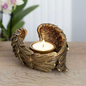 Angel Wing Candle Holder, Antique Gold Finish, Resin Tealight Votive Holder