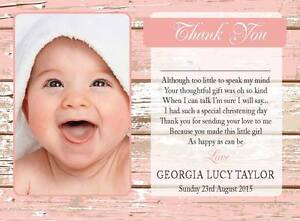PERSONALISED CHRISTENING/BAPTISM THANK YOU CARDS inc PICTURE Pink Pack of 10