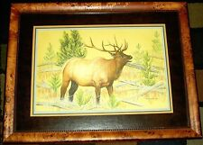 Framed Original Pastel Drawing Bugling Bull Elk Wapiti Deer Porter Family