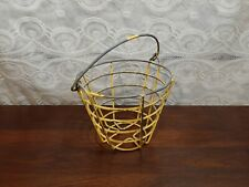 OLD Vintage WIRE EGG ? GOLF BALL ? BASKET GREAT DECOR CHIPPY YELLOW PAINT