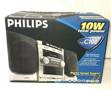 Philips FW-C100 Stereo 3 Disc Changer CD Tuner 2 Cassette Speakers Complete READ