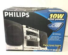 New listing Philips Fw-C100 Stereo 3 Disc Changer Cd Tuner 2 Cassette Speakers Complete Read