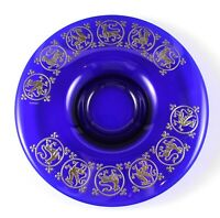 """Vintage Argento Deep Blue Glass 9"""" Bowl with Silver Dragons"""
