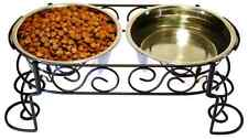 Double Bowl Dog Feeder Elevated Raised Stand Feeding Food Water Pet Dish Tray