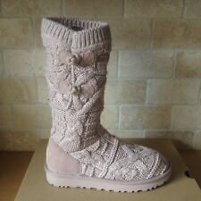 UGG KALLA DUSK PINK CABLE KNIT / SHEEPSKIN TALL SHORT BOOTS US SIZE 11 WOMENS