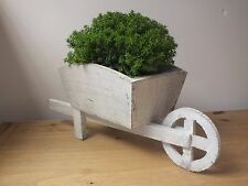 WOODEN WHEELBARROW PLANTER POT HERBS WITH PLASTIC INLAY WHITE SHABBY CHIC STYLE