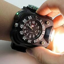 USB Rechargeable Sports Wrist Watch LED Flashlight Torch Compass Lamp Light New