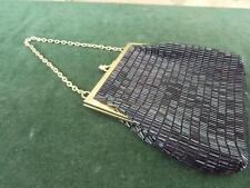 Retro Lanza  black beaded  evening  purse bag clutch styled in Italy