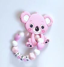 Beißring Greifring Greifling mit Namen Wunschname aus Silikon Koala rosa weiß