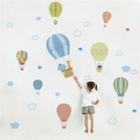 Kids Room Decor Wall Sticker Hot Air Balloon Nursery Room Decal Clouds Cartoon