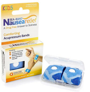 Sea Band Drug Free Natural Nausea Relief Re Usable Acupressure Wristbands Blue