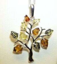 """925 Sterling Silver  Baltic Amber Tree of Life  Pendant 18"""" Chain Necklace"""